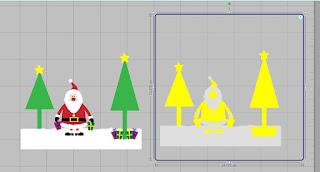 """Bild """"Santa im Schnee"""" mit misslungener Nachzeichnung"""