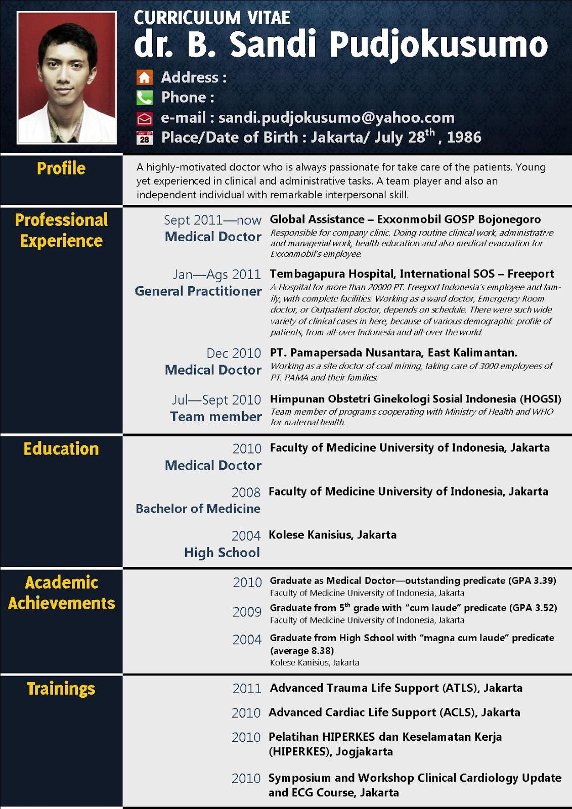 Curriculum Vitae Contoh Doc Rmdl Tk