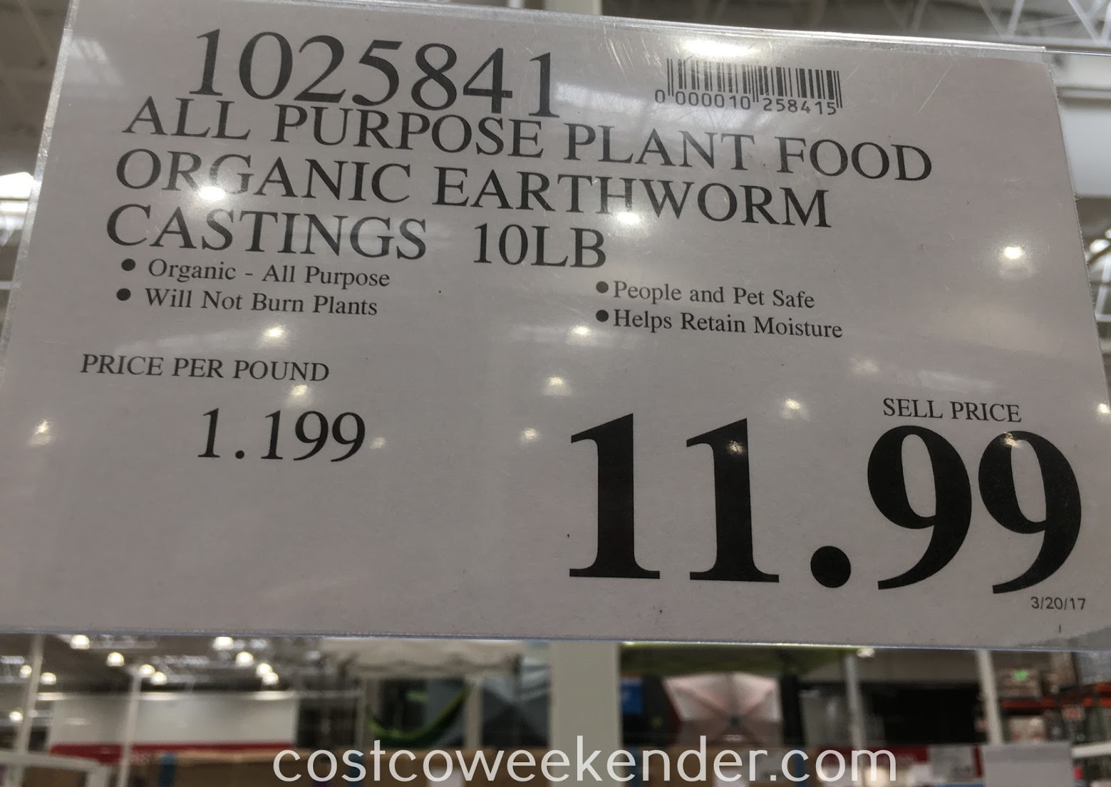 Deal for a 10 lb bag of Impact Organics All Purpose Plant Food Earthworm Castings at Costco