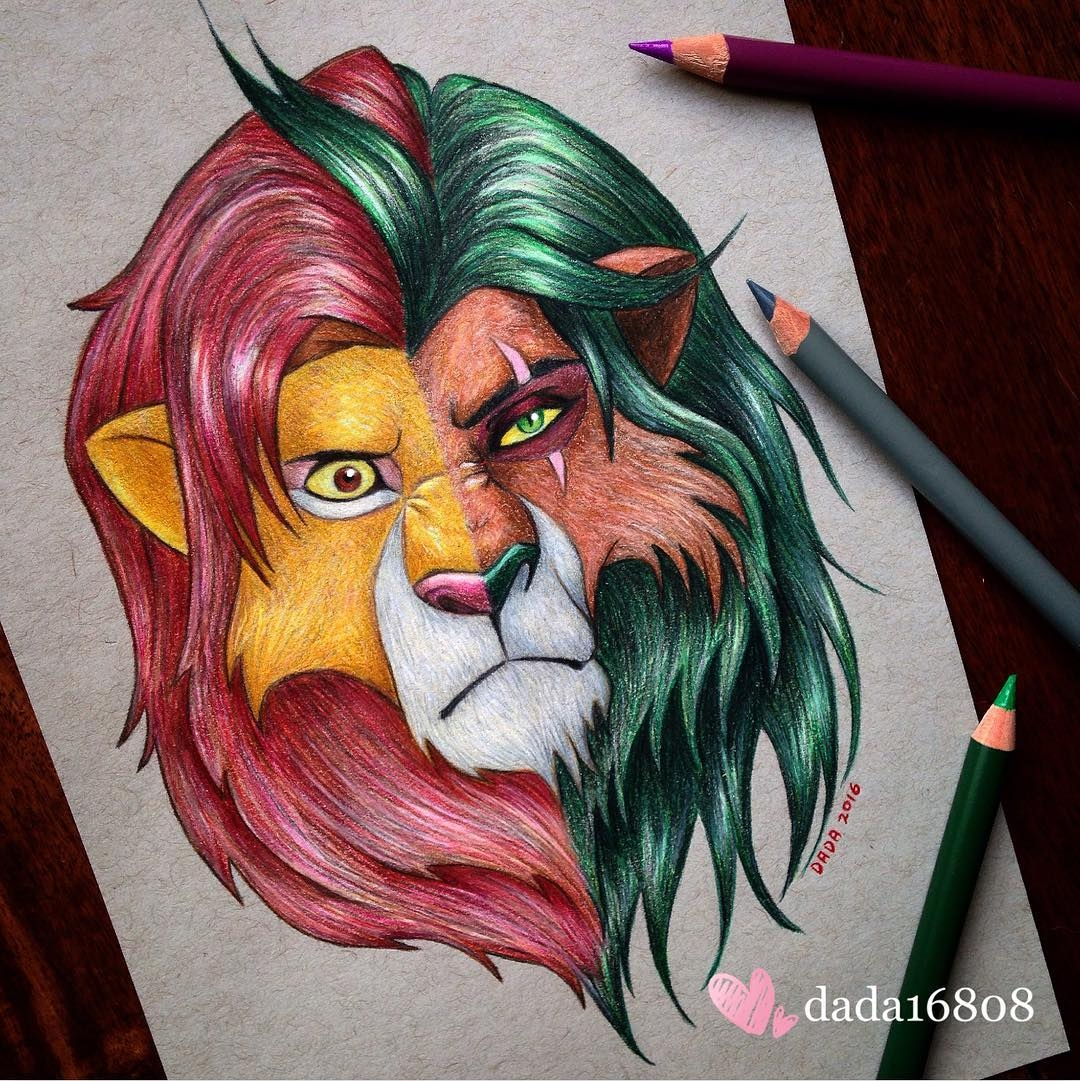 14-The-Lion-King-Simba-vs-Scar-Dada-Hayao-Miyazaki-Disney-and-Animé-in-Colored-Drawings-www-designstack-co