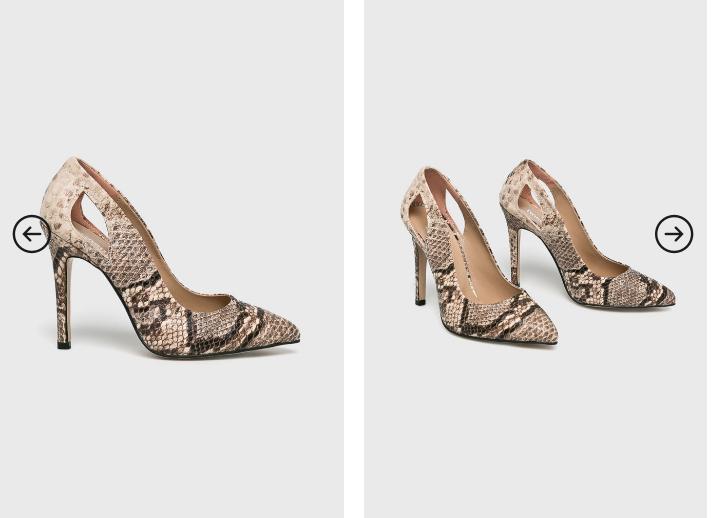 Answear - Pantofi cu toc si decupaj cu print piele de sarpe