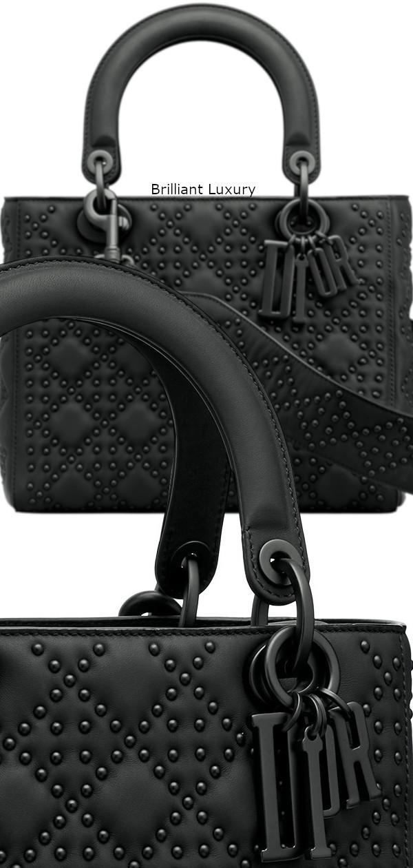Brilliant Luxury♦Lady Dior bag, black studded matt cannage calfskin, ultra-black finish metal jewellery
