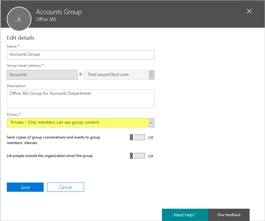 change office 365 group privacy to private or public using powershell