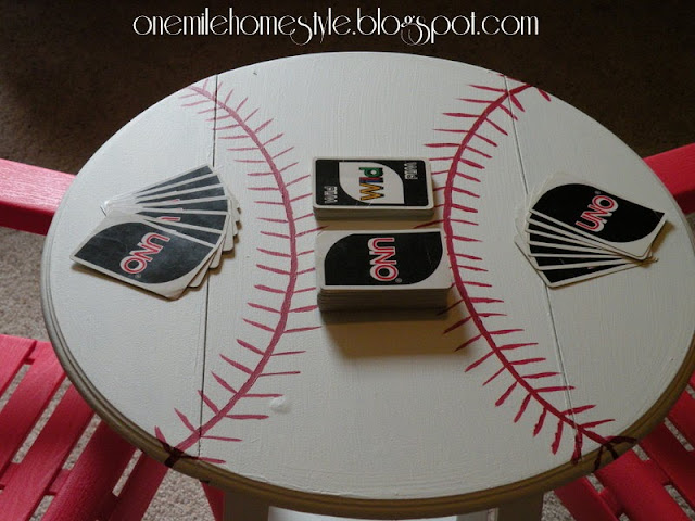 DIY Baseball Accent Table - One Mile Home Style
