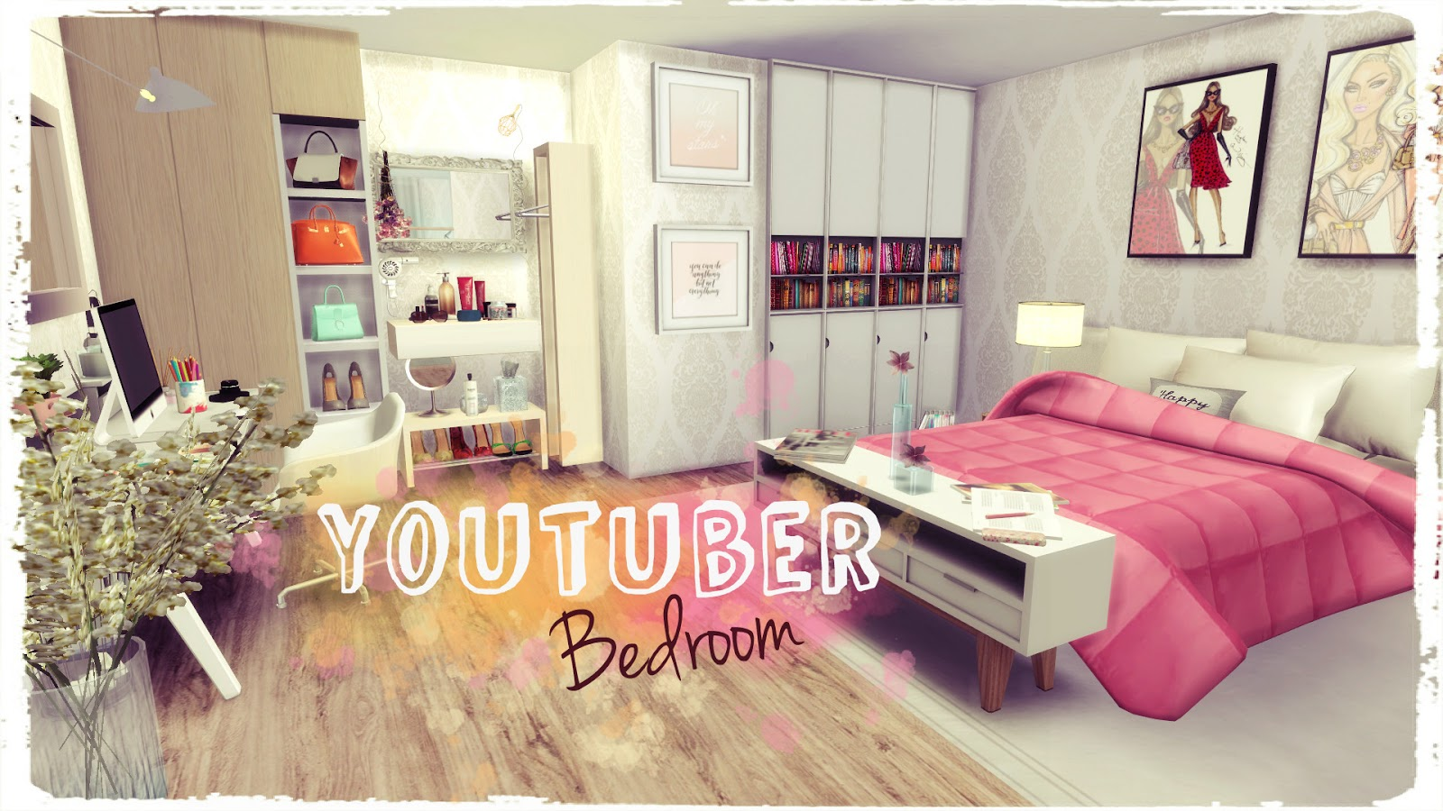 Sims 4 youtuber bedroom dinha for Bedroom designs sims 4