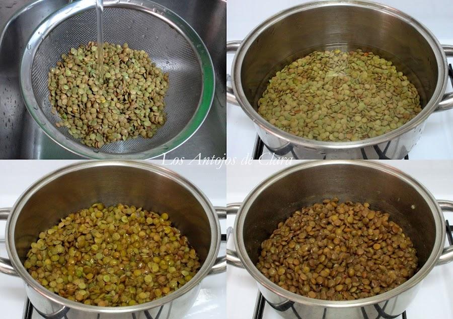 Preparación arroz con lentejas