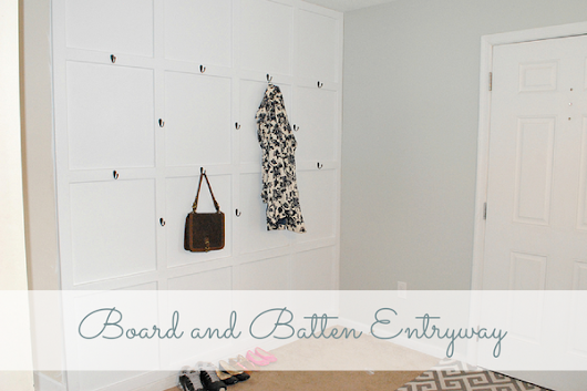 Grid Style Board and Batten Entryway and Drop Zone