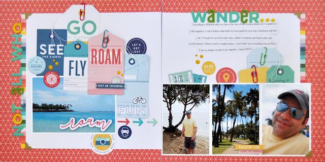 """Wander"" Double-page Scrapbooking layout by Jen Gallacher. #pinkfresh #sctmagazine #scrapbooking #jengallacher"