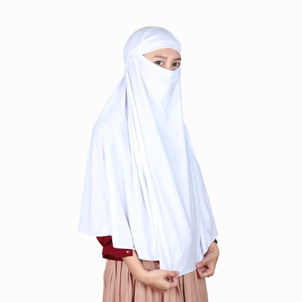 Kerudung Syari / Kerudung Corona Niqab Cadar - Putih