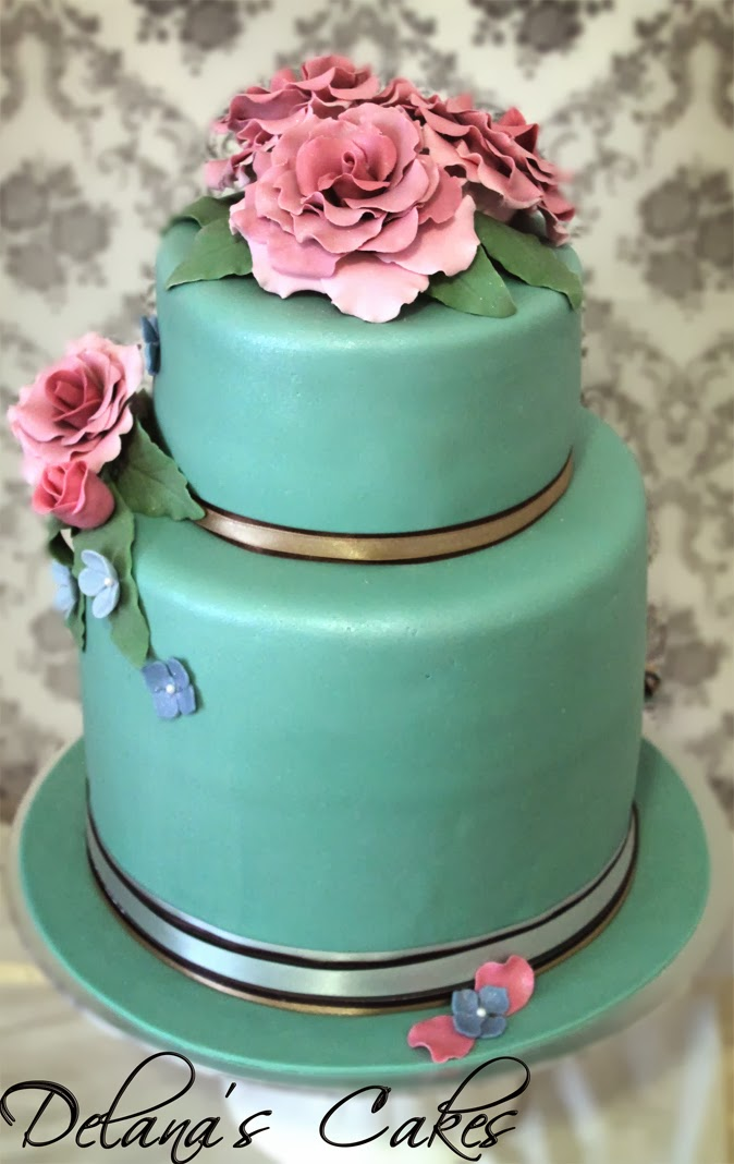 Delana S Cakes Mint Green Vintage Wedding Cake