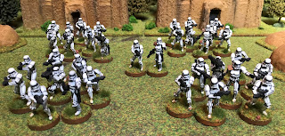 A four squad plartoon of Stormtroopers for Star Wars Legion