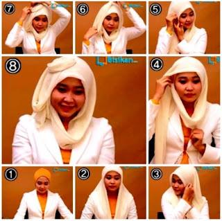 Cara memakai kerudung wajah bulat