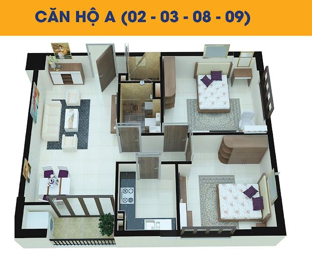 Thiết kế căn hộ 2 phòng ngủ loại A tòa C2