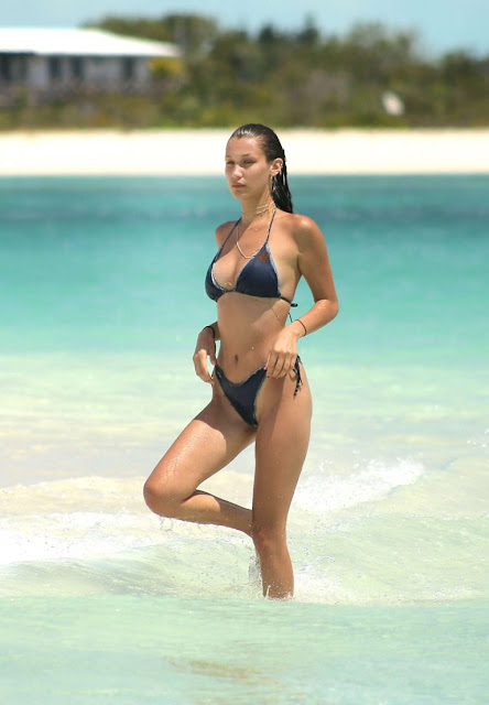 Bella Hadid – Bikini Photoshoot on the beach in Turks and Caicos