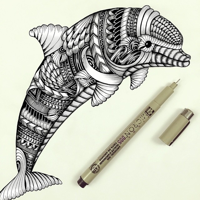 04-Dolphin-Faye-Halliday-Haathi-Detailed-Drawings-Representing-Complex-Animal-www-designstack-co