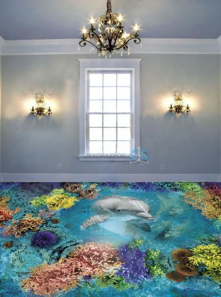 3D flooring art with dolphin and sea charm