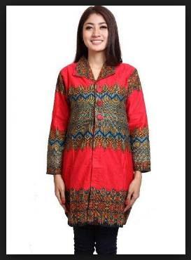 Model Baju Batik Wanita Atasan Lengan Panjang Cantik Terbaru