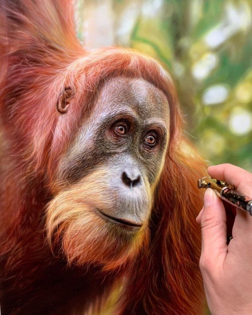 03-Orangutan-M-Oosterlee-Realistic-Airbrush-Animal-Paintings-www-designstack-co