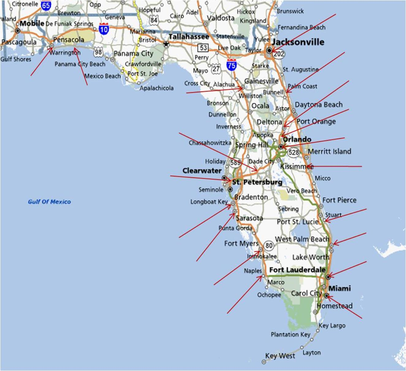 Map Florida Gulf Coast The State Has Approximately