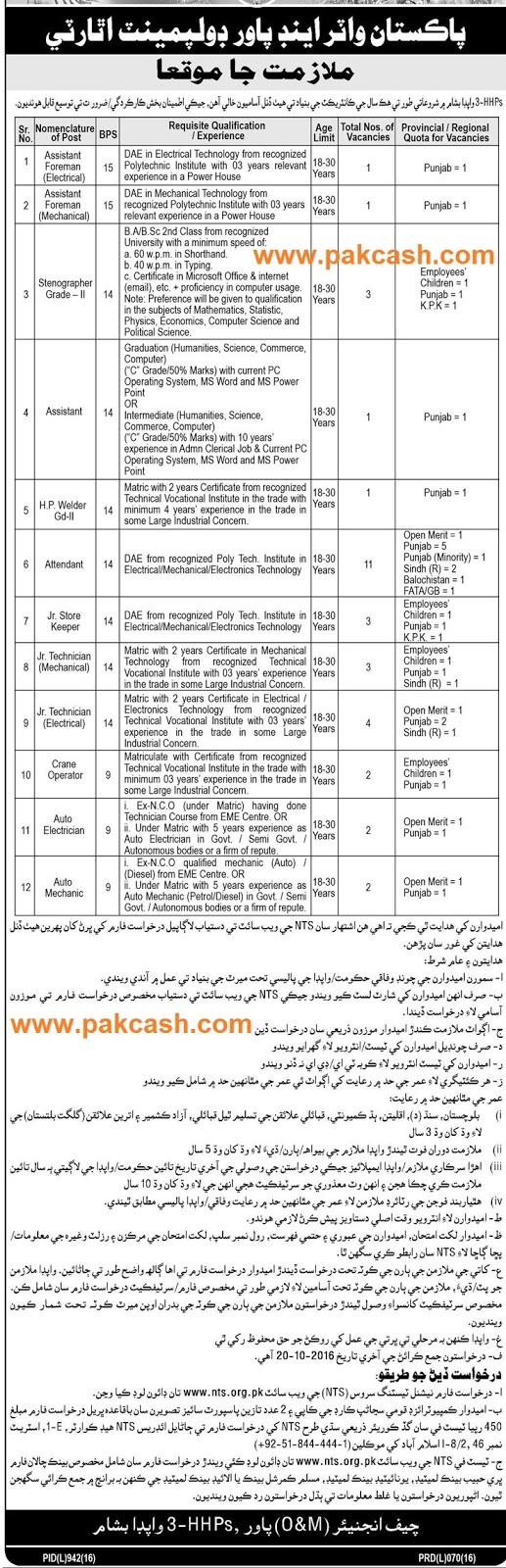 jobs in wapda pakistan 2016