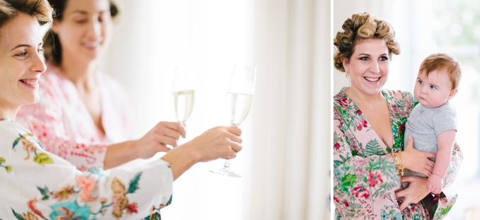 bridesmaids make a toast to the bride with champagne