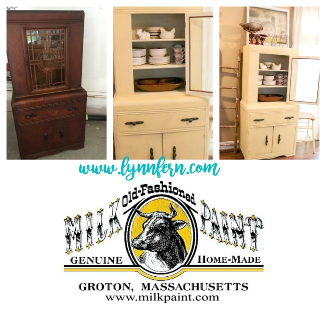 Waterfall china cabinet painted yellow