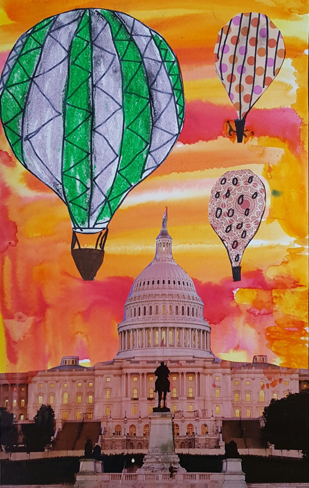marymaking  surreal hot air balloon collages ii