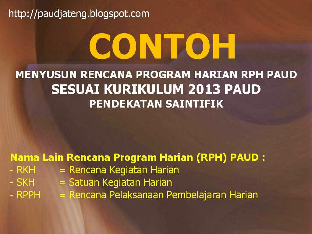 Contoh Program Harian RKH RPH PAUD Kurikulum 2013