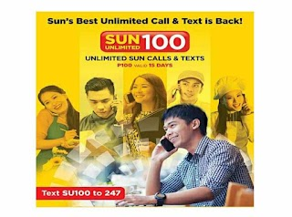 Sun Cellular SU100 – Unlimited Call and Text Only Php100 for 15 Days