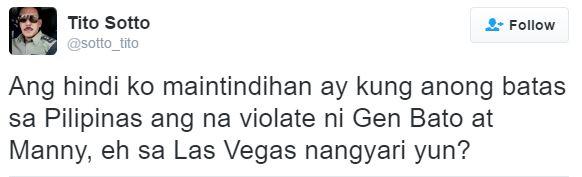 Tito Sotto: Anong Batas Sa Pilipinas Ang Na-Violate Ni Gen Bato At Manny, Eh Sa Las Vegas Nangyari Yun?