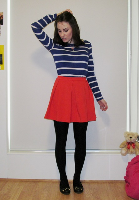 Striped Top - Red Skirt