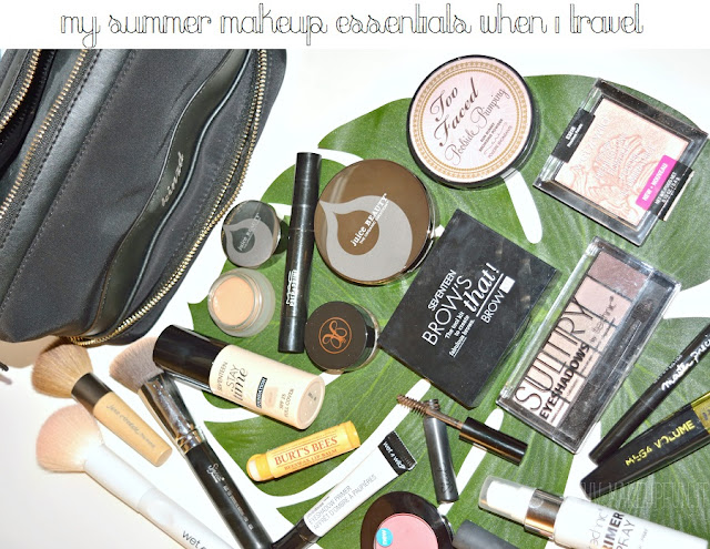 My Summer Makeup Essentials. When I travel I have some beauty favorites I cannot leave at home. Be inspired and make a list of your makeup essentials! #summer #makeupessentials #travelingessentials #makeuptravelessentials #vacationbeautycase #travel #cosmeticbagorganizer #makeupbrushes #vacationbeautypackinglist #beautyfavorites #travellist