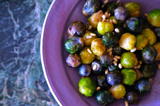 Purple Brussels sprouts with pine nuts pic:Kerstin Rodgers/ msmarmitelover.com