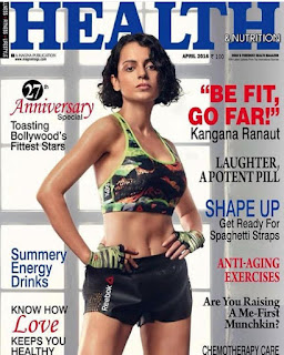 Kangana Ranaut fit on Cover Page of Health and Nutrition magazine April 2016