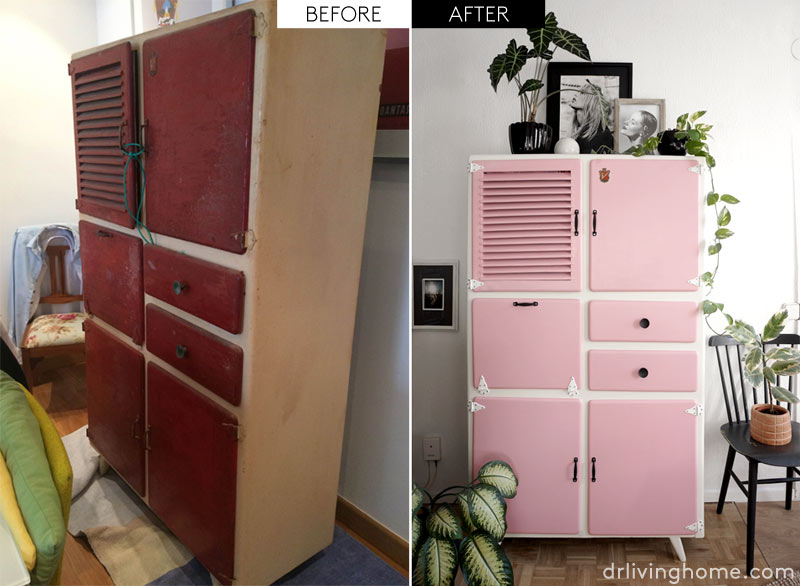 Fun vintage kitchen cupboard makeover