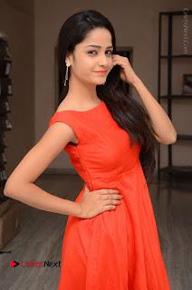 Telugu Actress Divya Nandini Stills in Orange Sleeveless Gown at Chennai Chaitrama Movie le Launch Event  0023.JPG