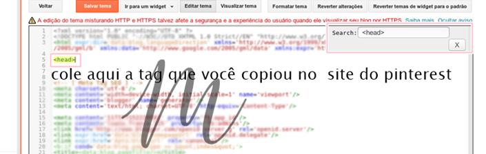 adicionando a tag ao html do blog