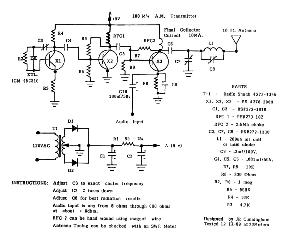 Low Power Radio: Low power AM circuits of James R Cunningham