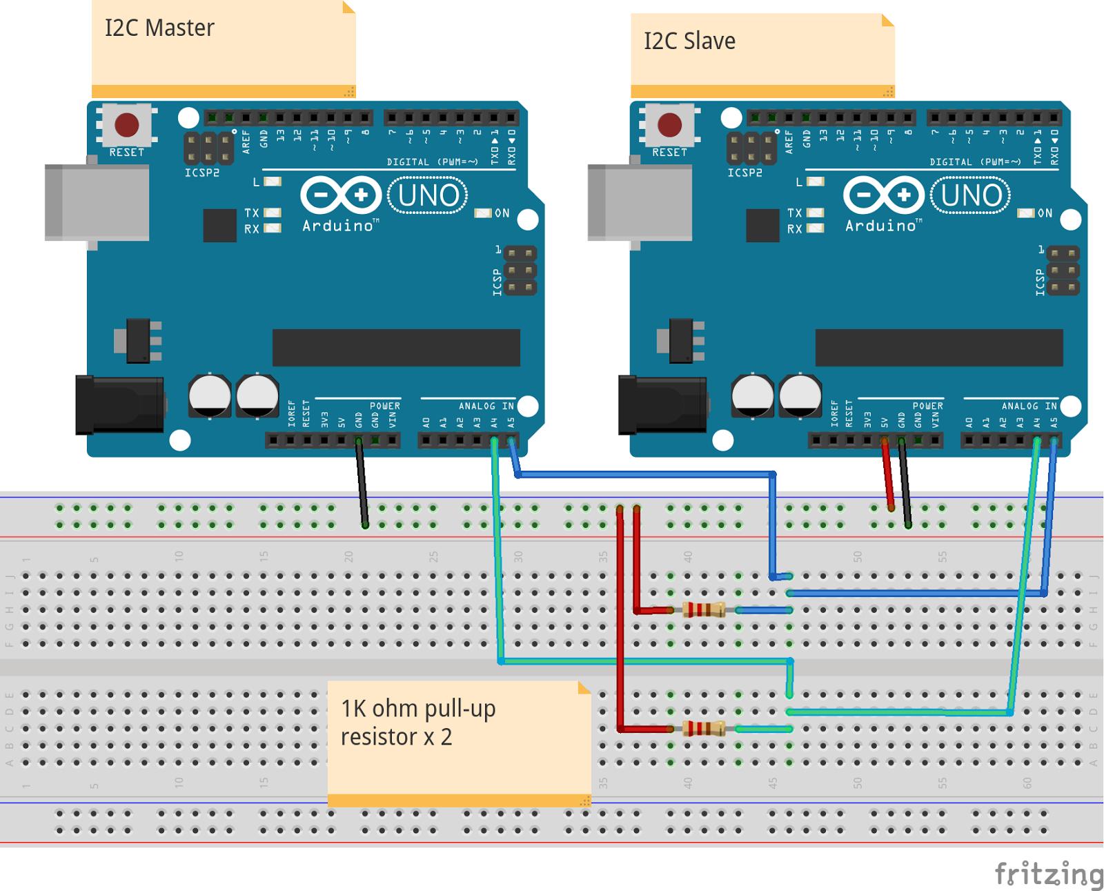 Arduino-er: Communication between Arduinos on I2C using Wire