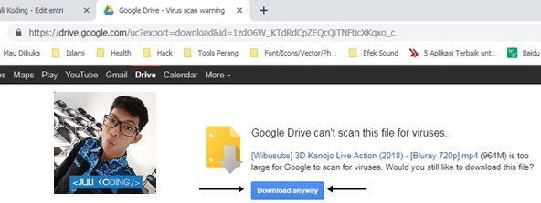 "Link Download Google Drive dan klik tombol ""Download Anyway"""