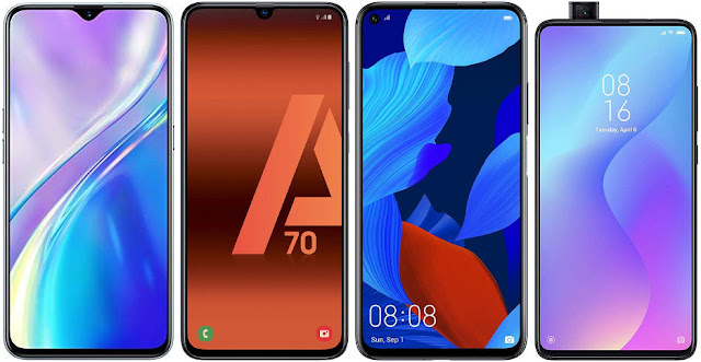 Realme X2 vs Samsung Galaxy A70 vs Huawei Nova 5T vs Xiaomi Mi 9T 128 GB