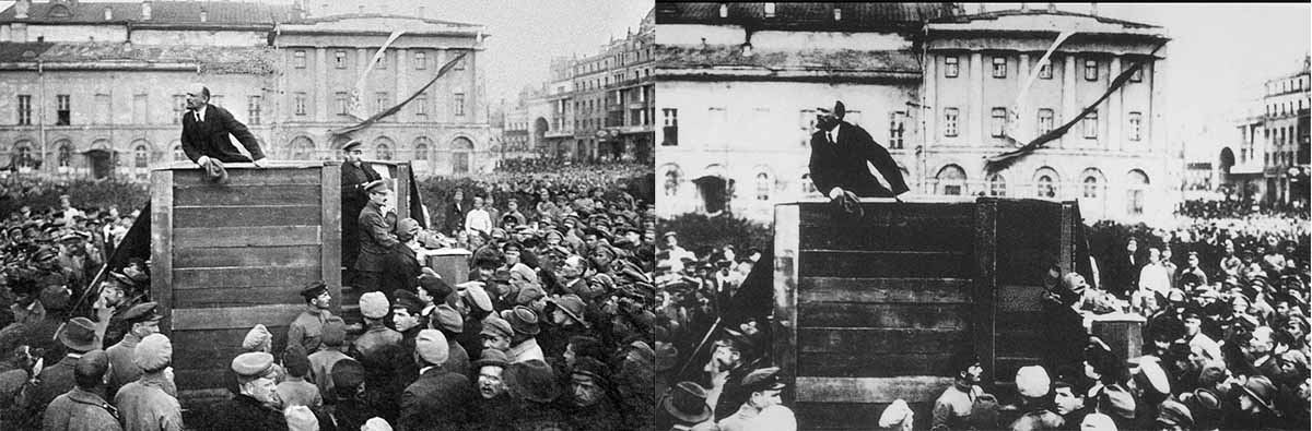 In this photo from 1920, Trotsky, in a cap, stands nearby Lenin who is giving a speech from a tribune. In the later version, Trotsky is nowhere to be seen. Trotsky was exiled from the USSR in 1929 but he continued his political struggle against Stalin from abroad, before being assassinated by the Georgian's henchman in 1940.