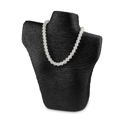 The Paper Twine Wrapped Mannequin Display in Black is ideal for silvertone necklaces | NileCorp.com