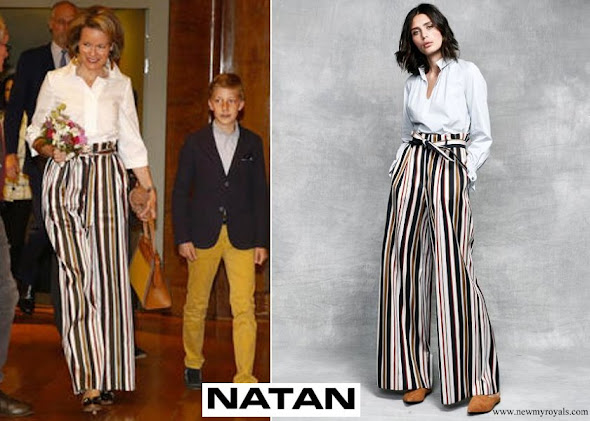 Queen Mathilde Natan trousers and blouse from Natan SS18 Collection