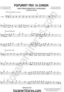Partitura de Fagot Popurrí Mix Partituras de Freere Jacques, Pasa el Batallón, Eram Sam Sam Sheet Music for Bassoon Music Scores