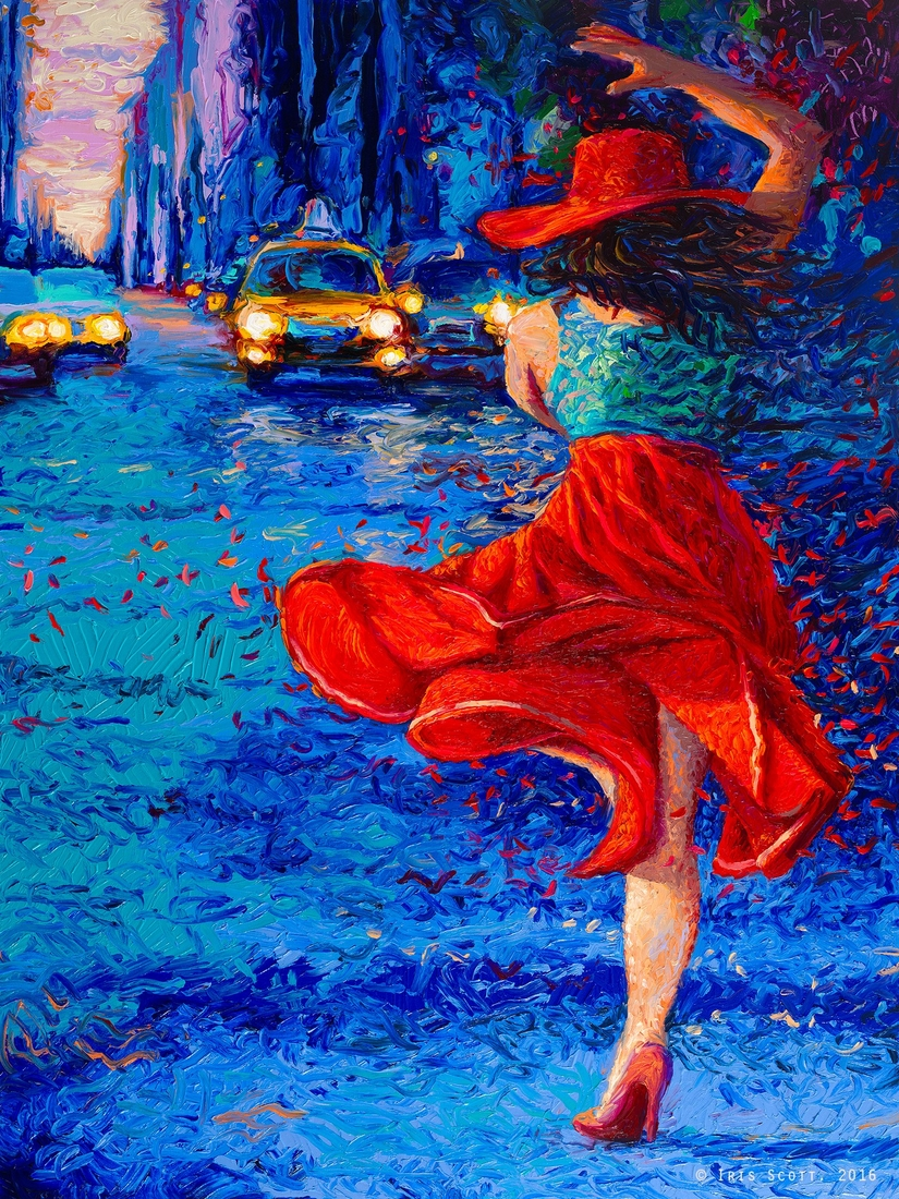 02-The-Red-Skirt-Iris-Scott-Finger-Painting-to-add-a-lot-of-Texture-to-Urban-Scenes