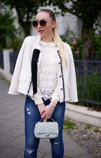 Beige lace blouse with flower embroidery