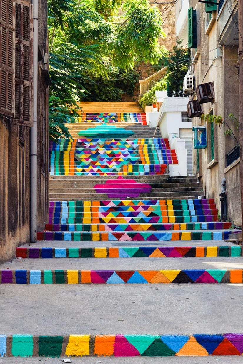 17. Beirut, Lebanon - 17 Beautifully Painted Stairs From All Over The World. #7 Is Insane!