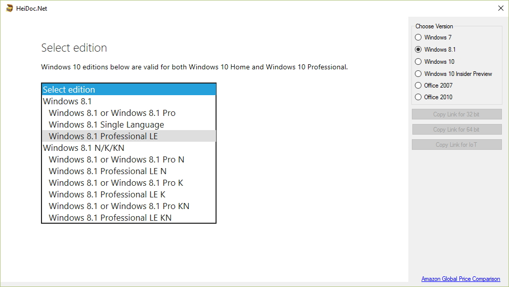 Windows 7, 8 1 ve Windows 10 için, Windows ISO Download Tool