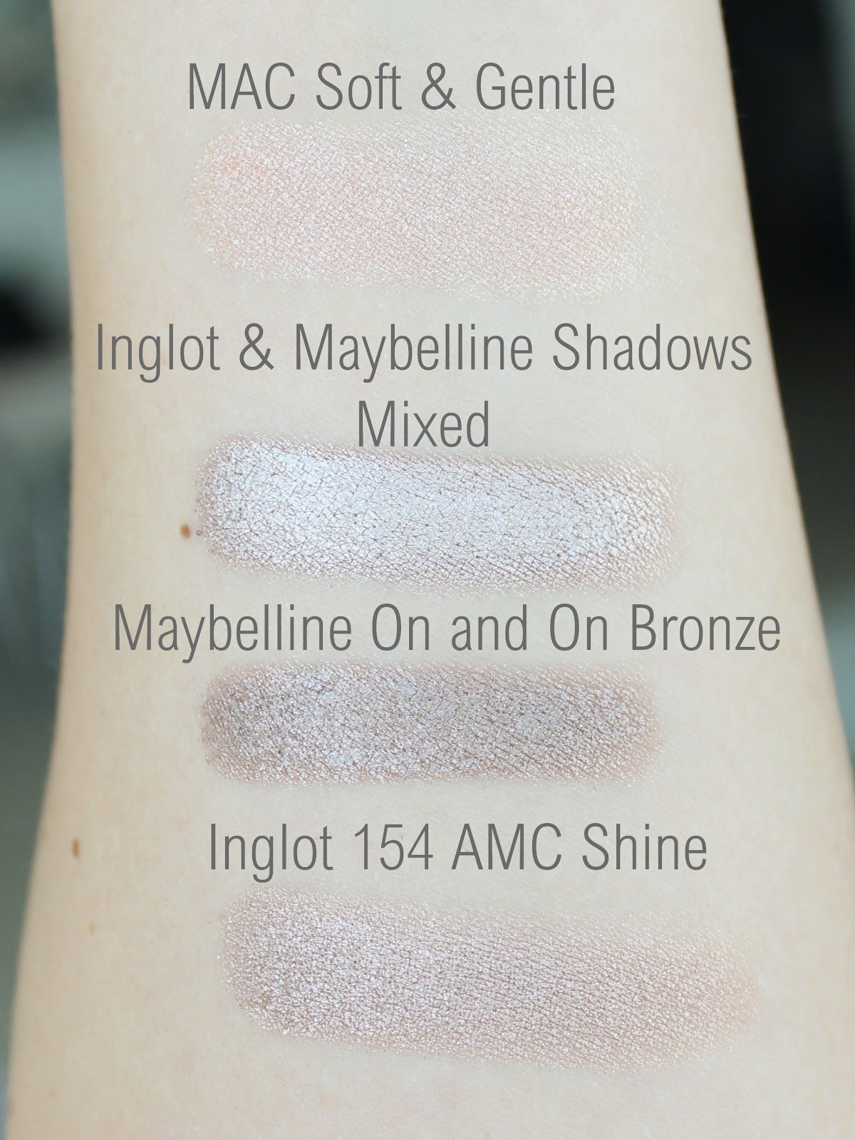 May Favourites - Life in Excess Blog, Maybelline On and On Bronze Swatch, Inglot 154 AMC Shine swatch, MAC Soft & Gentle Swatch